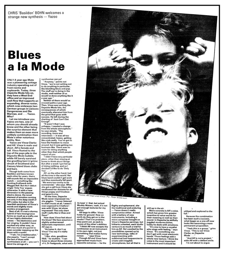 Unmarked, early Yazoo interview