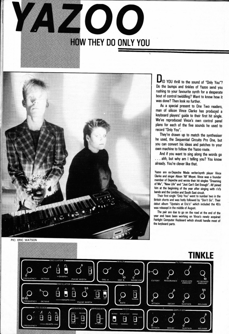 Mr blue, magazine clippling explaining how Vince Clarke creates his sound